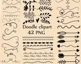 "Doodle clipart: ""HAND DRAWN CLIPART"" Tribal clipart Page Dividers Border clipart Curly doodle Flourish doodle  Doodle Scrolls Arrows clipart"
