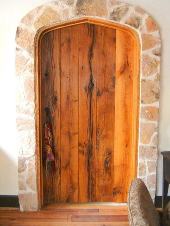 Oak Interior Plank Style Arched Door Made To Order From