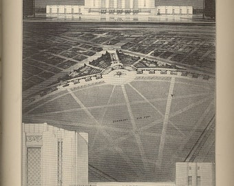 leltigh airports competition 1920s architect drawing collage page download