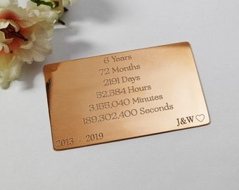 6 year copper wallet insert personalised gift for her anniversary gift for women custom engraved 6th anniversary copper wallet insert card
