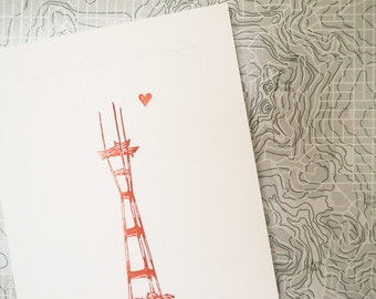 Sutro Tower /// Hand Stamped Card /// Hand Carved Stamps /// Sepia /// Cordial Greetings /// Little Heart