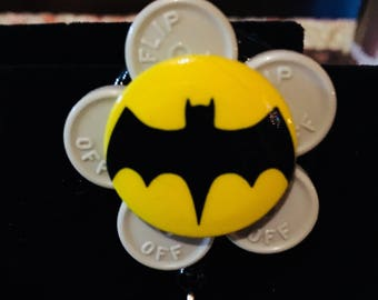 Name badge reel nurse badge recycled medication caps badge holder BATMAN gray yellow