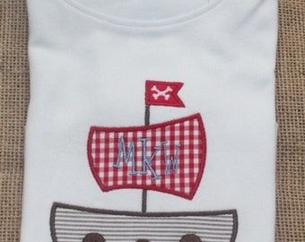 Pirate Tshirt, Bodysuit or Tee, Personalized Pirate Ship Applique, Pirate Ship Applique Shirt or Bodysuit