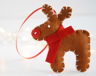Pure wool felt reindeer decoration
