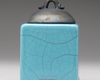Ceramic box, turquoise blue crackle, raku fired art pottery, keepsake box, handmade
