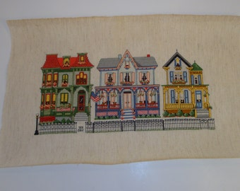 "Embroidered Cross Stitch Vintage Style ""Americana Victorian Houses"" Sampler (not framed)"