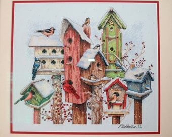 Hand Embroidered Birdhouses from Bucilla Pattern