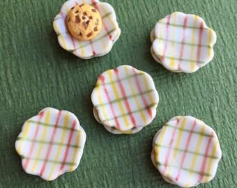 5Miniatue plate,mini ceramic plate,miniature food plate,cake plate,small plate,dollhouse plate,dollhouse miniature plate,dollhouses