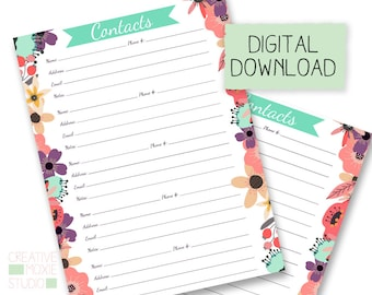 Planner Address Insert Refill - Happy Planner Printable - Printable Planner Insert - Address book - planner pages - instant download