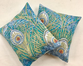 Handmade Set of Two Organic Lavender Sachets Liberty of London Fabric Peacock Feathers
