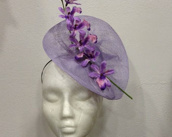 "Fascinator purple lilac color, pattern ""Orchid flower"""