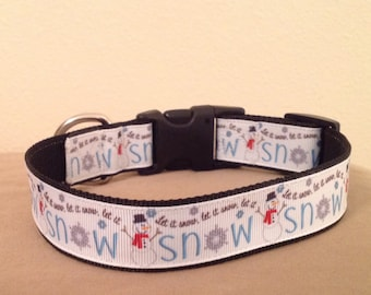 1 Inch Wide 8-12 Adjustable Let it Snow Christmas Dog Collar
