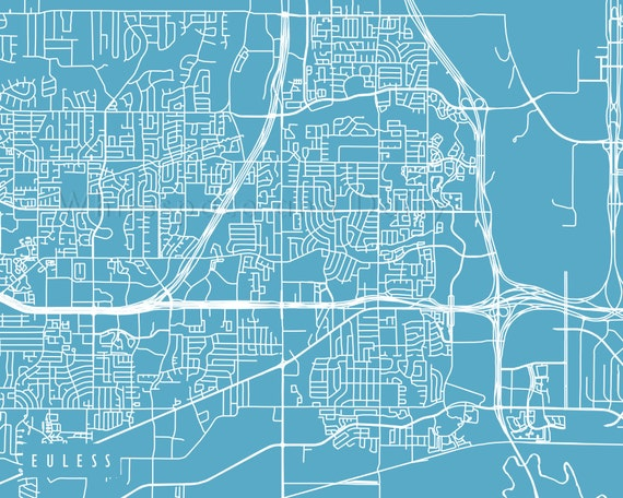 Euless Map Euless Art Euless Map Art Euless Print Euless