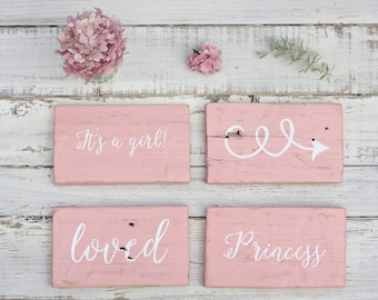 Rustic Girl Nursery  - Shabby Chic Girl Room - Baby Vintage Sign - Baby Shower Gift - Nursery Wall Art - Baby Girl Nursery Decor - Wood Sign