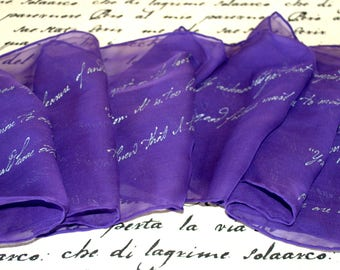 Jane Austen Gifts, Pride and Prejudice Quotes Hand Painted Silk Scarf, Unique gift for book lovers, Gift-Wrapped, READY to Ship Immediately