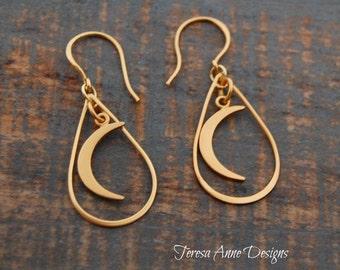 Gold Vermeil Moon Earrings