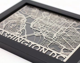 "Washington DC Stainless Steel Laser Cut Map - 5x7"" Framed 