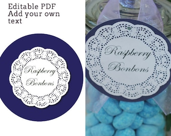 """Shabby Chic 4"""" circle labels - editable PDF - add your own text"""