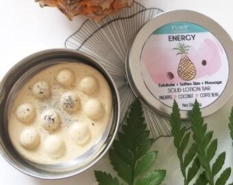 Energy- Pineapple & Coffee Massage, Scrub Body Lotion Bar, Solid Moisturizer, Solid Body Lotion Bar - Packaged in Tin