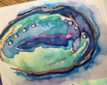 Seashore Note Card Set with Envelopes Beautiful Watercolor Abalone Shell