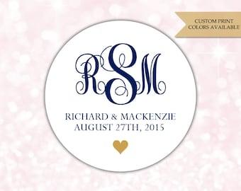 Wedding monogram stickers - Wedding envelope seals - Monogram stickers - Monogram labels (RW046)