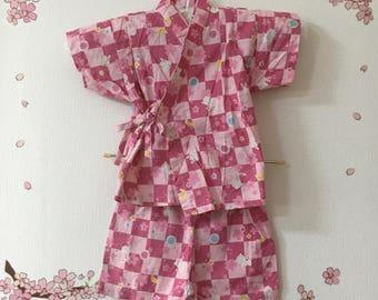 Toddler Girl Kimono, Pink With Rabbit Design , Baby Kimono, Child Kimono, Baby Gifts, Baby Jinbei, Photo Prop Idea, Ninja Outfit, Kawaii