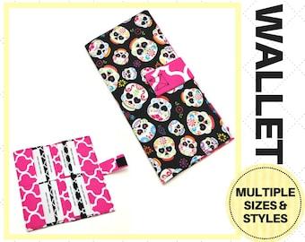 Sugar Skull Bi-Fold Wallet - Card Holder, Clutch, Storage