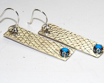 Sterling Silver Bar Earrings with Genuine Turquoise - Long Earrings - Silver and Blue - textured metal earrings