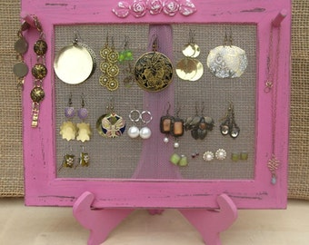Earring Holder On A Stand / Royal Fuchsia Shabby Chic / 25 - 40 Earrings / 6-10 Necklaces ** Buy 1 Item From The Shop And Get 1 Small Gift *