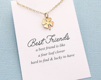 Best Friend Gift | Four Leaf Clover Necklace, Best Friend Gift, Best Friend Necklace, Friends Friendship Gift, Friendship Necklace | F06
