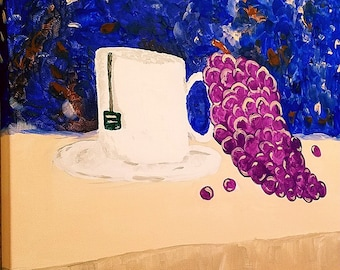 coffee cup - still life..purple grapes...abstract painting