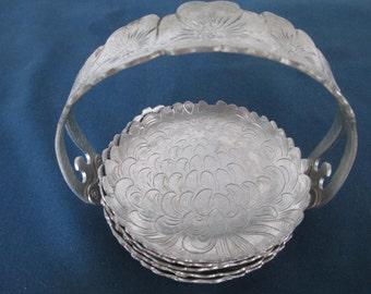 Vintage Hammered Aluminum Coaster Set Vintage Retro Kitchen Dining Vintage Drinkware Continental Brillantone