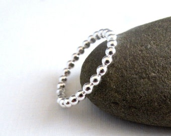 Sterling Silver Bubble Stacking , dot ring, eternity band