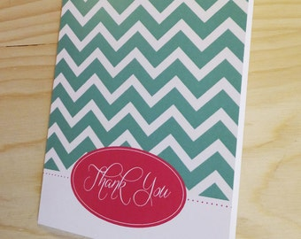 Chevron Blue & Pink Thank You Cards - Set of 20