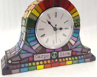 Mosaic mantle clock carpe diem - seize the day