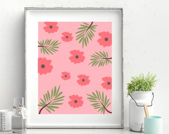 Flowers and Leaves Printable Poster