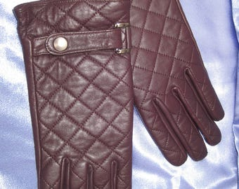 Leather Gloves Ladies brown leather gloves
