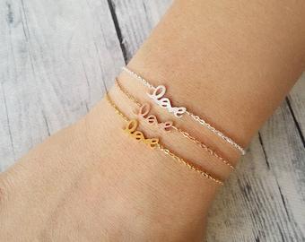 Delicate charm bracelet, Love word bracelet, Friendship bracelet, Steel bracelet, Valentine bracelet, Minimal bracelet, Chain link bracelet