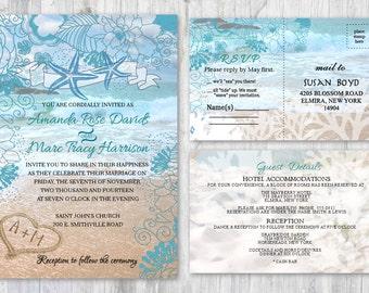 Beach Wedding Invitations, Starfish Wedding Invitation, Beach Theme Ocean Themed Invitation, Wedding Beach Invitation Sand Heart Invitations