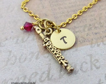 Flute  Charm Necklace, Personalized Antique Gold Hand Stamped Initial Birthstone Monogram Flute Charm Necklace