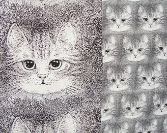 Vintage Cat Fabric Valerie Leonard Kitty Cats Novelty Print Material 7/8 of a Yd