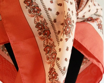 Vintage Silk Scarf - Colorful Floral - orange brown white - made in Japan
