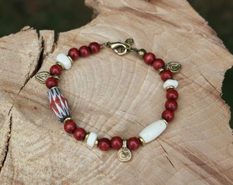 ethnic Nomad bracelet-Indian artisan glass, bone, wood, brass