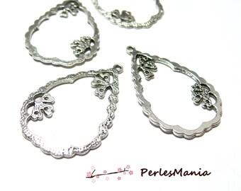 10 Teardrop pendants silver 2Y6512 old zen for jewelry making