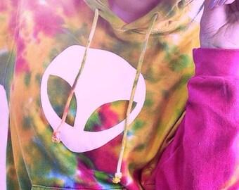 Alien Tie Dye Hoodie • Women's Hoodie Sweatshirt • Tiedye Hooded Sweatshirt « 00POErainbowmix «« (basic, td pullover) «