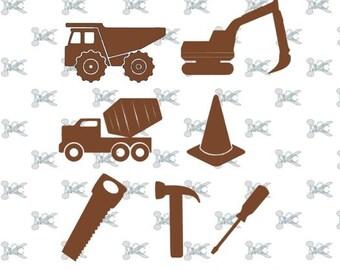 Dump Truck SVG , Excavator Svg , Cement Truck Svg , Cone Svg , Screwdriver Svg, Hammer Svg, Saw Svg Construction Svg Design Silhouette