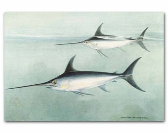 "Swordfish Art Print, 1930s Ocean Wall Decor, Saltwater Fish Art --- ""Cresting Swordfish"" No. 74"