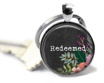 Redeemed, Christian Keychain, Bible Verse Jewelry, Bible Words, Christian Gift, Scripture Quote, Religious Quote