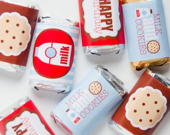 Milk & Cookie Party PRINTABLE Mini Candy Bar Wrappers (INSTANT DOWNLOAD) by Love The Day