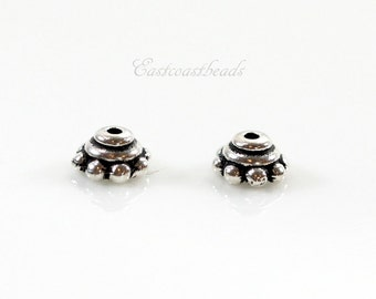 TierraCast Bead Caps, 5mm Beaded Bead Caps, 5mm. Silver Bead Caps,  Antiqued Fine Silver Plated Lead Free Pewter, 10 Pieces, 7112